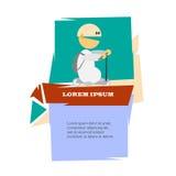 Homem dos desenhos animados no 'trotinette' Imagens de Stock