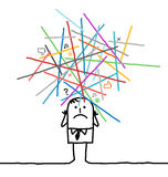 Homem dos desenhos animados perdido no redes sobrecarregadas Foto de Stock Royalty Free