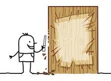 Homem dos desenhos animados que cinzela uma placa vazia de madeira Foto de Stock
