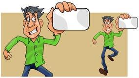 Homem dos desenhos animados que corre mostrando o cartão vazio à disposição ilustração stock