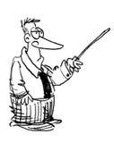 Homem dos desenhos animados que dá uma leitura ilustração royalty free