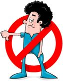 Homem dos desenhos animados que diz o No. Fotografia de Stock Royalty Free