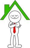 Homem dos desenhos animados que está sob um telhado Imagem de Stock Royalty Free