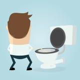 Homem dos desenhos animados que faz xixi no assento da sanita Foto de Stock