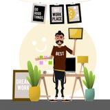 Homem dos desenhos animados que guarda uma tabuleta Desenhador do local de trabalho Vetor Fotos de Stock Royalty Free