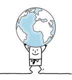 Homem dos desenhos animados que leva a terra Foto de Stock Royalty Free