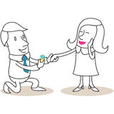 Homem dos desenhos animados que propõe à mulher lisonjeada ilustração do vetor