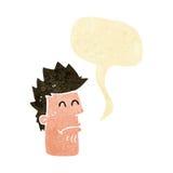 homem dos desenhos animados que sente doente com bolha do discurso Fotografia de Stock Royalty Free