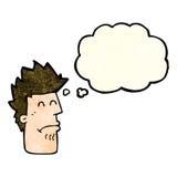 homem dos desenhos animados que sente doente com bolha do pensamento Imagem de Stock