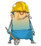 Homem dos desenhos animados que trabalha em um capacete e com um martelo Fotografia de Stock Royalty Free