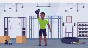 Homem dos esportes que faz exercícios com treinamento afro-americano do indivíduo do kettlebell do conceito saudável do estilo de ilustração royalty free