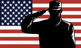 Homem e bandeira do serviço militar Imagem de Stock