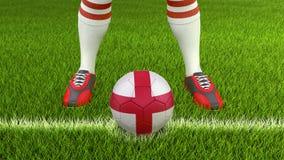 Homem e bola de futebol com bandeira inglesa Fotografia de Stock Royalty Free