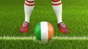 Homem e bola de futebol com bandeira irlandesa Imagem de Stock