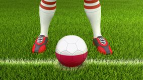 Homem e bola de futebol com bandeira polonesa Foto de Stock