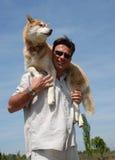 Homem e cão de puxar trenós siberian Imagens de Stock