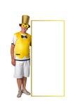 Homem e cartaz brasileiros fotos de stock