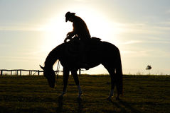 Homem e cavalo Tired imagem de stock royalty free