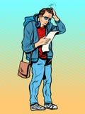 Homem e a confusão da lista ilustração stock