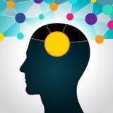Homem e dados grandes, uma comunicação, contatos, negócio rede global na cabeça Projeto liso, ícones ilustração stock