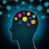Homem e dados grandes, uma comunicação, contatos, negócio Uma rede global na cabeça Projeto liso ilustração royalty free