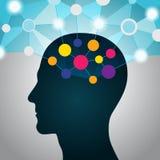 Homem e dados grandes, uma comunicação, contatos, rede global do negócio na cabeça Projeto liso ilustração stock