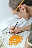 Homem e desenhos Imagens de Stock