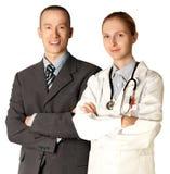 Homem e doutor de sorriso de negócio Imagem de Stock Royalty Free