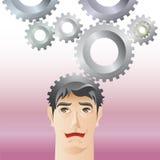 Homem e engrenagem Imagens de Stock
