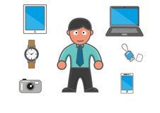 Homem e equipamentos modernos Imagem de Stock Royalty Free