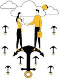 Homem e fêmea na âncora do navio ilustração do vetor