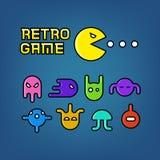 Homem e fantasmas do Pac para o grupo do vetor do jogo de computador da arcada Foto de Stock Royalty Free