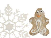 Homem e floco de neve alegres de pão-de-espécie Imagem de Stock