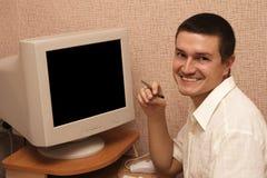 homem e gráfico Foto de Stock Royalty Free