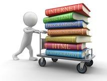 Homem e Handtruck com os livros na segurança informática Fotografia de Stock Royalty Free