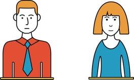 Homem e linha fina fêmea Avatars Fotos de Stock Royalty Free