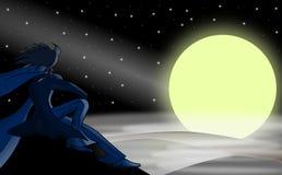 Homem e a lua Imagem de Stock