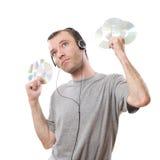 Homem e música Fotografia de Stock Royalty Free