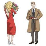 Homem e menina da ilustração do vetor com uma caixa dos doces e das flores ilustração do vetor