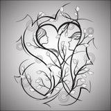 Homem e mulher, árvore de amor ilustração do vetor