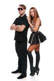 Homem e mulher bonitos, modelos da forma Pares atractive novos, isolados no fundo branco fotografia de stock