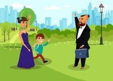 Homem e mulher com a criança no desenho do vetor do parque ilustração do vetor