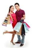Homem e mulher com saco de compra Fotos de Stock Royalty Free