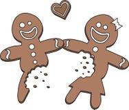 Homem e mulher comidos metade de pão-de-espécie no amor ilustração royalty free