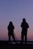 Homem e mulher da câmera da silhueta Foto de Stock Royalty Free