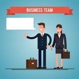Homem e mulher de negócio com pastas Fale a bolha Ilustração lisa Fotos de Stock Royalty Free