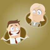 Homem e mulher de negócio dos desenhos animados Fotografia de Stock