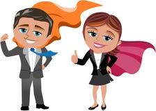 Homem e mulher de negócio super Fotografia de Stock Royalty Free