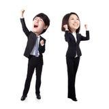 Homem e mulher de negócio entusiasmado Fotografia de Stock Royalty Free