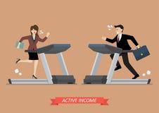Homem e mulher de negócio que correm em uma escada rolante Fotos de Stock